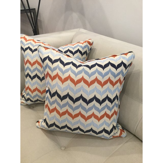 The fabric is a fun and striking 100% Kravet jacquard fabric front and back and self-welted. The detail and colors on...