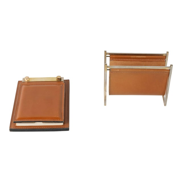 Delvaux Paris Leather and Brass Note Pad and Letter Rack Desk Set - 2 Pc. For Sale