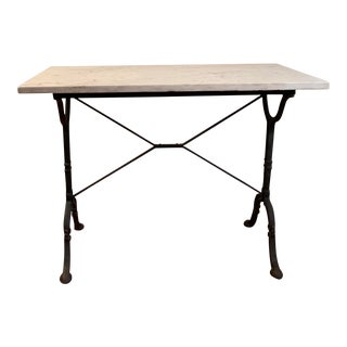 20th Century Traditional Marble Top Table With Cast Iron Base For Sale