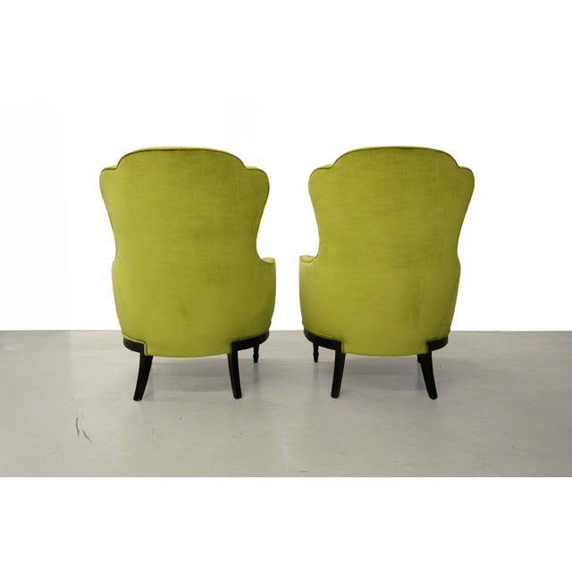 Mid Century Bergere Parlor Chairs - Pair - Image 4 of 7
