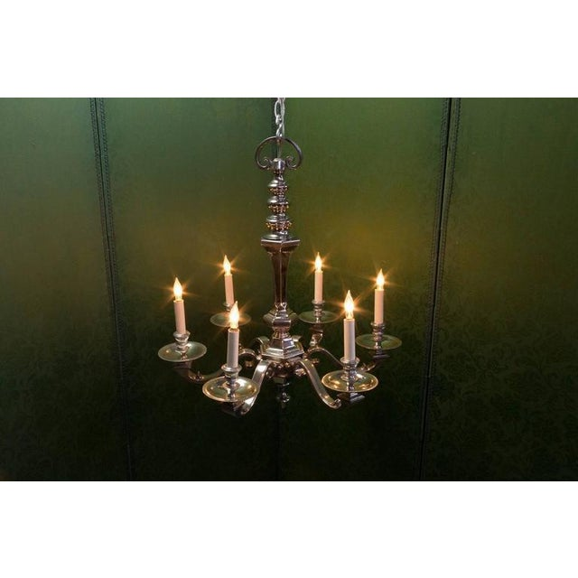 Art Deco 1940s French Nickel Plated Bronze Six-arm Chandelier For Sale - Image 3 of 10