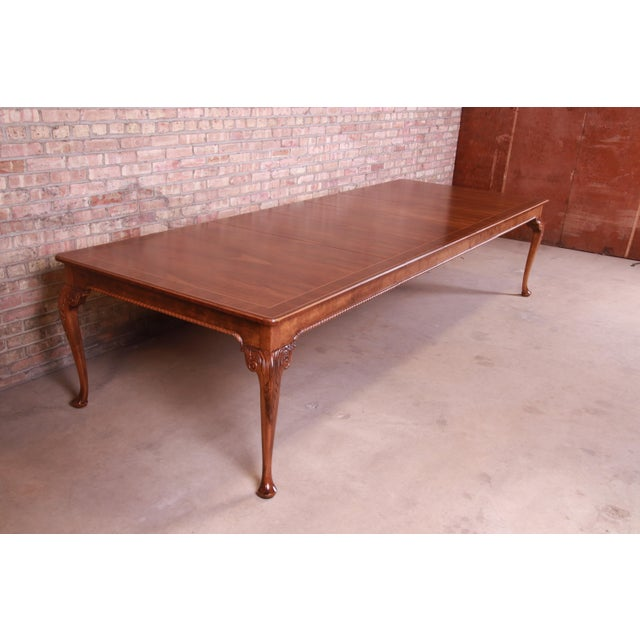 Baker Furniture Stately Homes Queen Anne Inlaid Walnut Extension Dining Table, Newly Refinished For Sale - Image 13 of 13