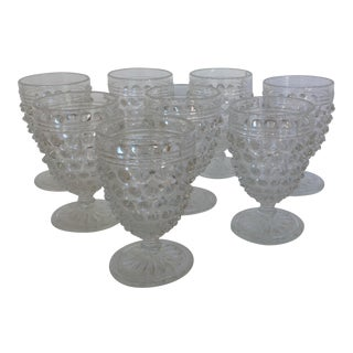 Hobnail Crystal Aperitif or Cordial Glasses- Set of 8 For Sale