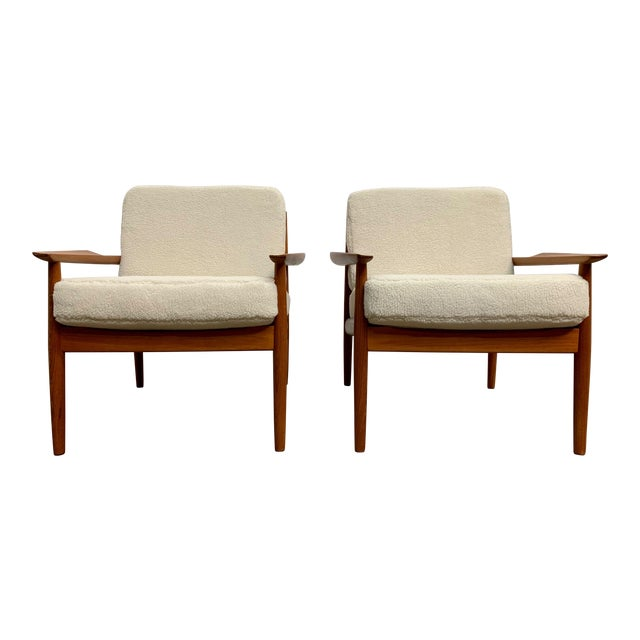 Arne Vodder Teddy Faux Fur Danish Modern Lounge Chairs - a Pair For Sale