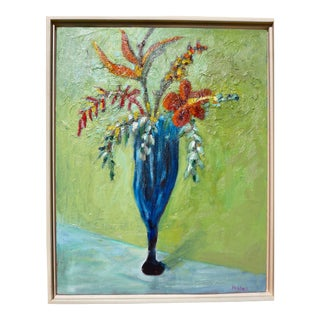 Contemporary Impressionist French Flowers Oil Painting by Martha Holden For Sale