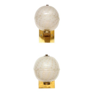 Custom Murano Glass Sphere-Shaped Sconces - A Pair For Sale