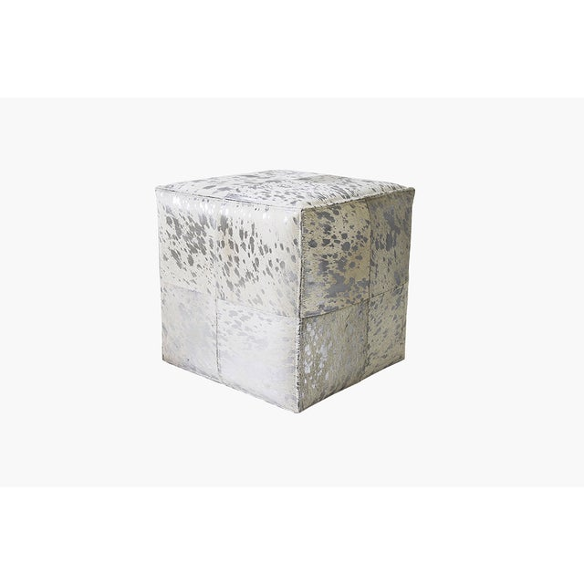 Forest Collection Cowhide Silver Ottoman - Image 4 of 5