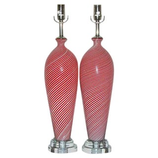 Dino Martens Murano Glass Table Lamps Red Pin Stripes For Sale