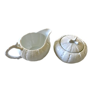 Royal French White Urchin Cream & Sugar Set - 2 Pieces For Sale