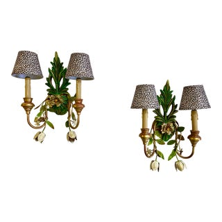Vintage Sconces With Tole Flowers and Leopard Shades - a Pair For Sale