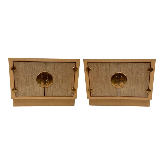 Pair of Cerused Asian Modern Cabinets For Sale