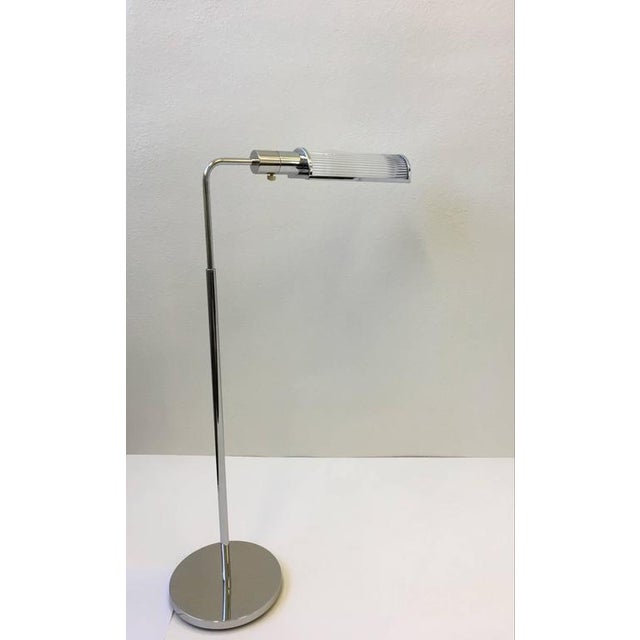 Chrome and Glass Adjustable Floor Lamps by Casella - A Pair - Image 6 of 9