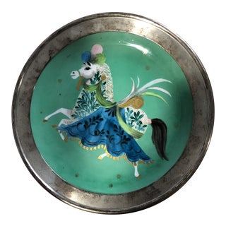 Merlin Hardy Hand Painted Horse Plate With Sterling Silver Rim For Sale