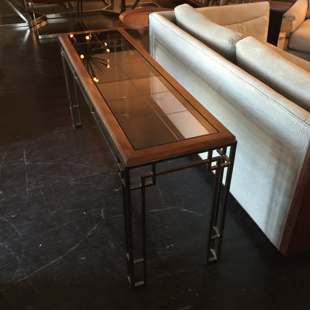 Midcentury Modern Brass Base Console Table - Image 5 of 9