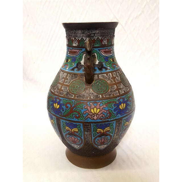 Japanese Enamel-Over-Bronze Champleve Vase With Peacock Head Handles Antique For Sale In Los Angeles - Image 6 of 7
