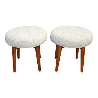 Pair of West Elm Off White Grayish Stools Benches For Sale