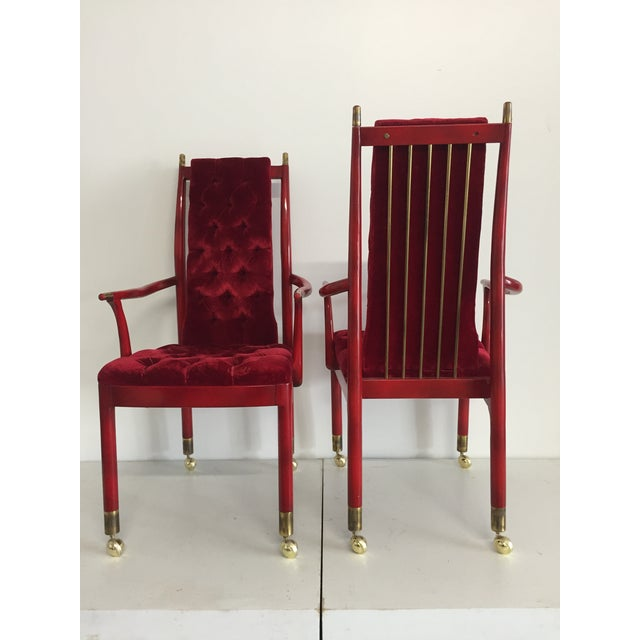 Mid-Century Modern Red Tufted Velvet Mid-Century Modern Chairs - A Pair For Sale - Image 3 of 5