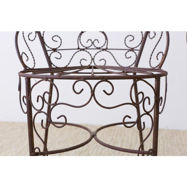 Metal Salterini Style Iron Fan Back Garden Patio Chairs For Sale - Image 7 of 13