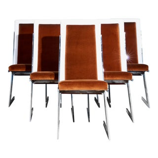 Set of 6 Brown and White Dining Chairs For Sale