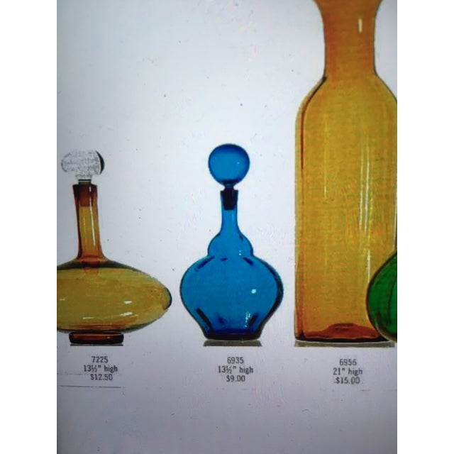 From Blenko, this is a Mid Century cobalt blue decanter, hand blown glass with glass stopper. This is item 6935 (see photo...