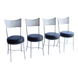 Mid-Century Metal Faux Bamboo and Cane Chairs - Set of 4