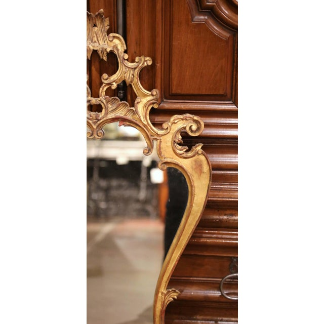 Early 20th Century Italian Rococo Carved Giltwood Wall Mirror For Sale - Image 4 of 8