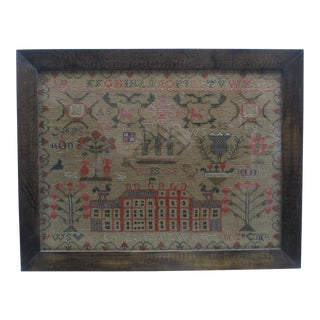 Early 19th Century Antique Stewart Family Sampler Textile Art For Sale