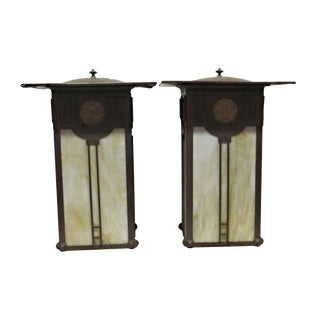 Vintage Brown and Beige Arts & Crafts Outdoor Sconces - a Pair For Sale
