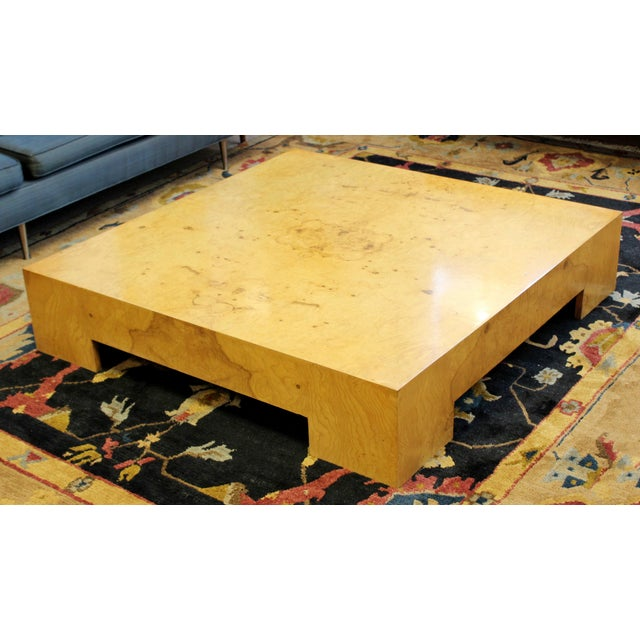 1970s Mid Century Modern Milo Baughman Large Low Square Burl Wood Coffee Table 1970s For Sale - Image 5 of 9