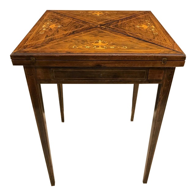 French Rosewood Inlay Handkerchief Game Table For Sale