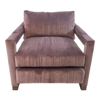 Modern Drexel Heritage Architecht Velvet Lilac Club Chair For Sale