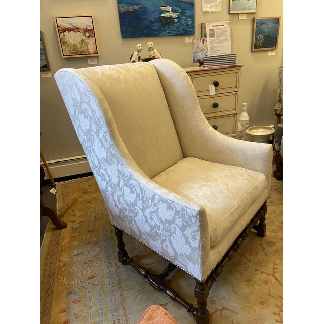 Traditional Damask Fabric Chair With Down Cushion and Mahogany Frame For Sale - Image 3 of 12