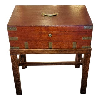 19th Century Joseph Bramah Campaign Candle Box or Chest on Stand For Sale