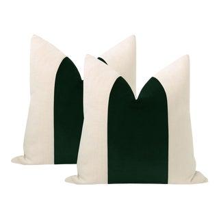 "22"" Emerald Velvet Panel + Linen Pillows - a Pair For Sale"