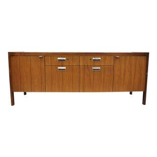 Mid-Century Modern Attr. Stow Davis Knoll Style Walnut & Teak Credenza Cabinet For Sale