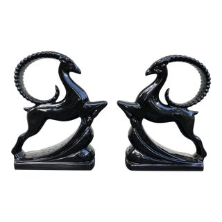 Vintage Mid Century Haeger Art Deco Gazelle Statues- A Pair For Sale