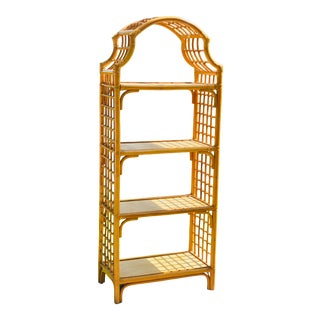 1970s Hollywood Regency Pagoda Bamboo Etagere For Sale