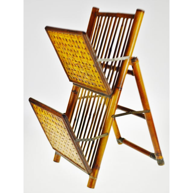 Mid Century Bamboo and Rattan Two Tier Folding Magazine Rack For Sale - Image 12 of 13