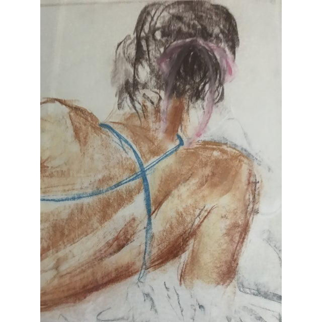 Late 20th Century Vintage Drawing of a Reclining Woman For Sale - Image 5 of 6