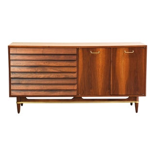 American of Martinsville Merton Gershun Walnut Long Dresser For Sale