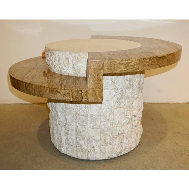 1970s Marzio Cecchi Italian Vintage White and Ochre Stone Round Side/Sofa Table For Sale - Image 10 of 12