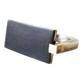 Heidi Abrahamson Sterling Silver Modernist Gentleman's Ring For Sale