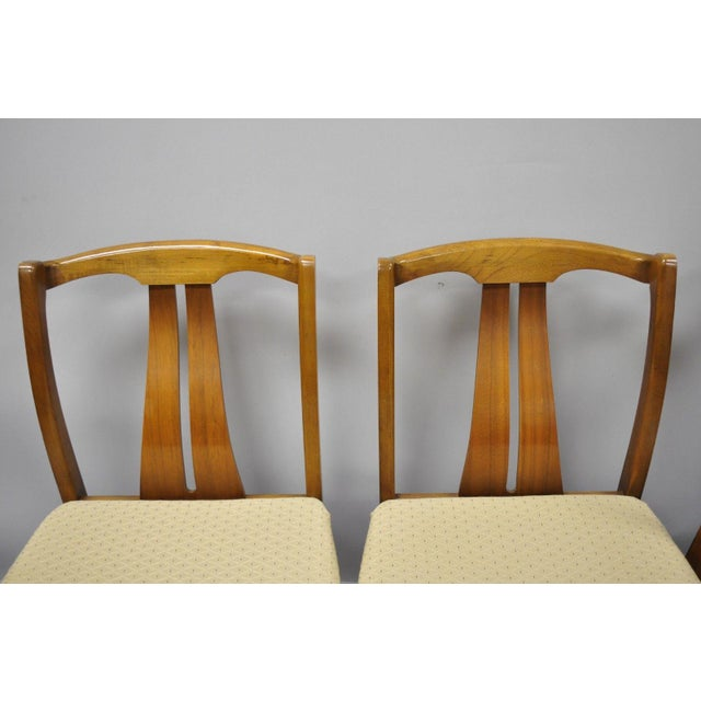 Mid 20th Century Vintage Mid-Century Modern Curved Back Walnut Dining Chairs - Set of 4 For Sale - Image 5 of 12