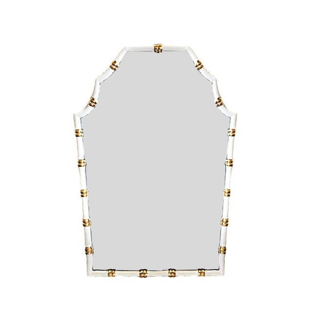 Dana Gibson Bamboo Mirror in White For Sale