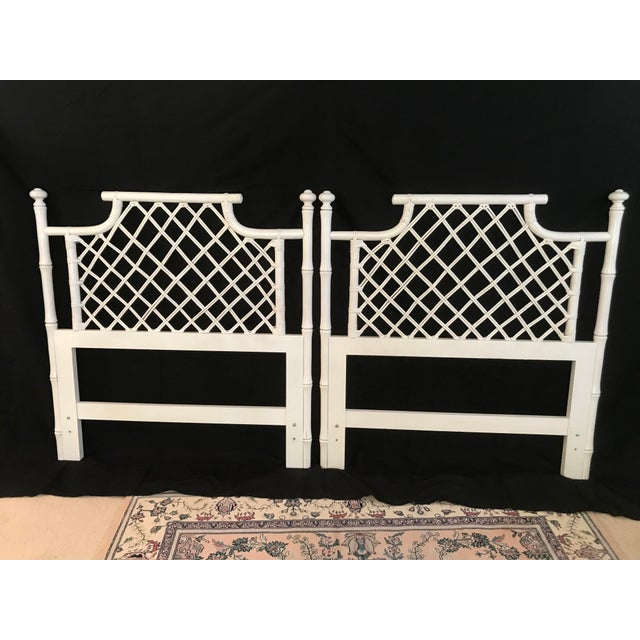 Ahhhh......The vintage faux-bamboo, is there ever enough!? Fabulous pair of Ficks Reed faux bamboo and rattan lattice twin...