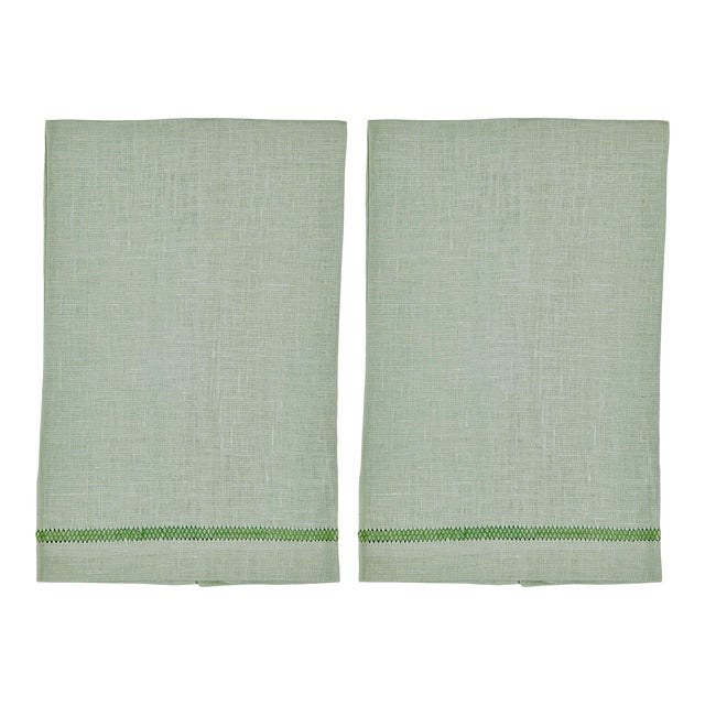 Mint Zig Zag Hand Towels - Set of 2 For Sale