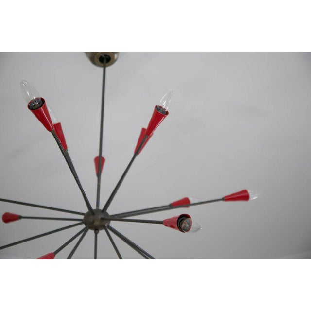 Italian Red Stilnovo Style Seventeen-Light Sputnik Chandelier, Circa 1950 For Sale In Los Angeles - Image 6 of 11