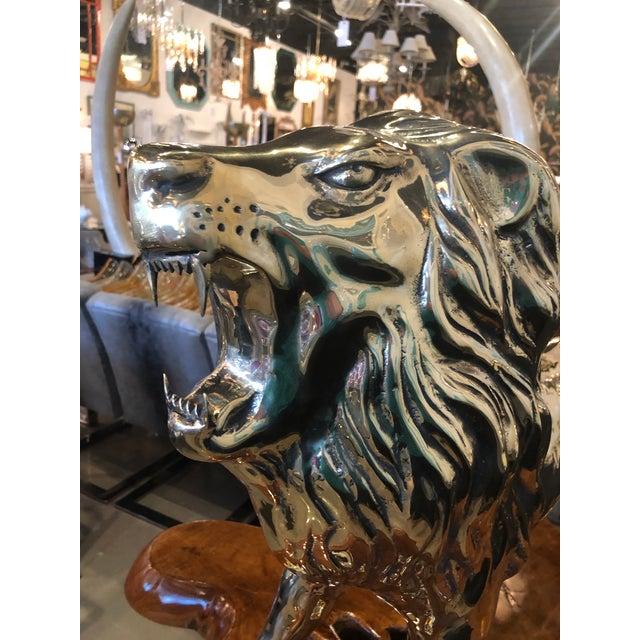 1970s Vintage Polished Brass Monumental Roaring Lion Animal Statue For Sale - Image 5 of 13