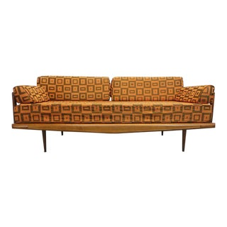 Mid Century Modern Danish Style Orange Geometric Upholstered Walnut Daybed Sofa by Bahama House For Sale