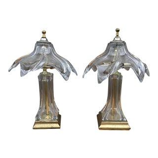 1960s Mid-Century Murano Glass Lamps - a Pair For Sale